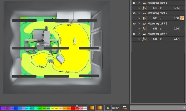 Illumination simulation of working environment during the testing of