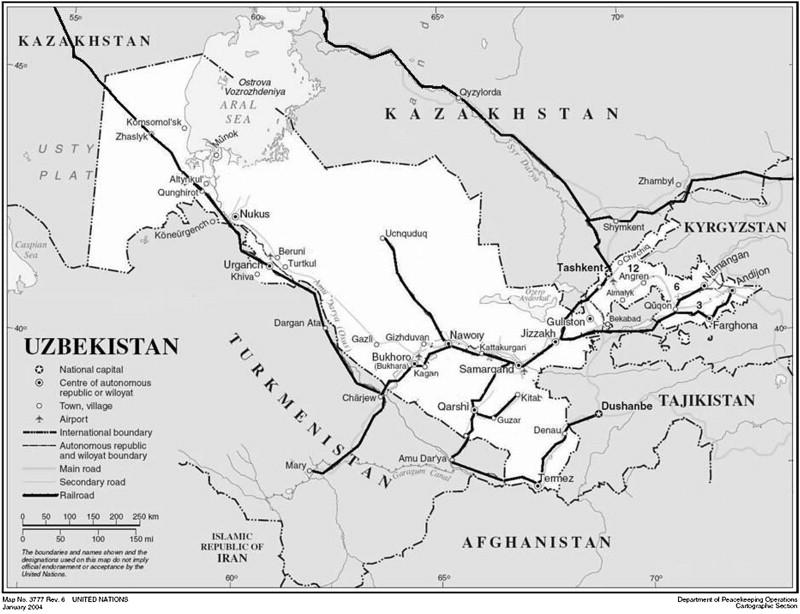 the uzbek railways source httpwwwunorgdeptscartographicmapprofileuzbekistpdf railways enhanced