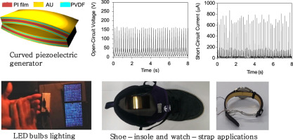 Powerful curved piezoelectric generator for wearable