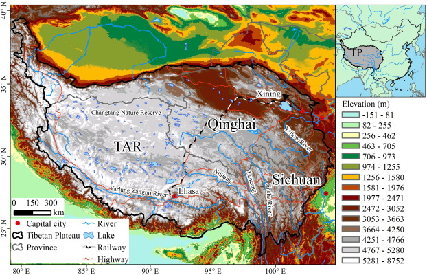 Tibetan Plateau On World Map.Mapping Human Influence Intensity In The Tibetan Plateau For