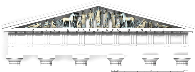 The virtual 3D reconstruction of the east pediment of the