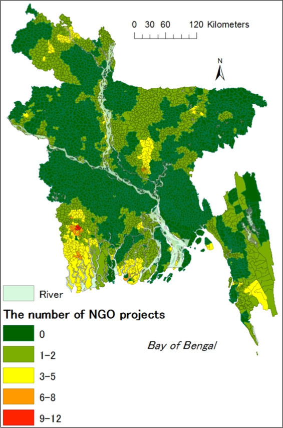 Possible factors influencing NGOs' project locations for