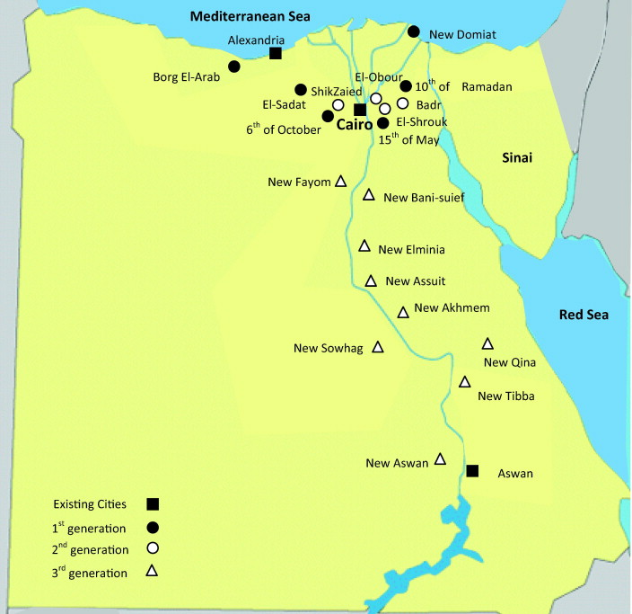Toward Revitalization Of New Towns In Egypt Case Study Sixth Of - Map of egypt with major cities