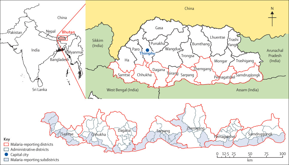 Malaria Burden And Costs Of Intensified Control In Bhutan - Map of bhutan with districts