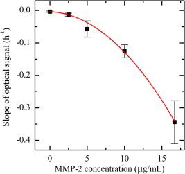Fiber-optic protease sensor based on the degradation of thin