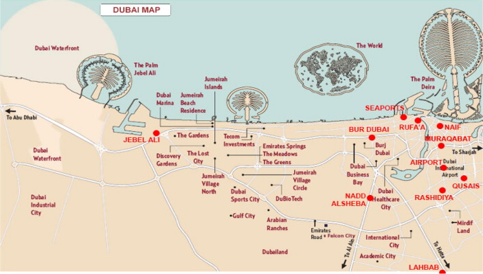 map of the city of dubai indicating the location of each police station