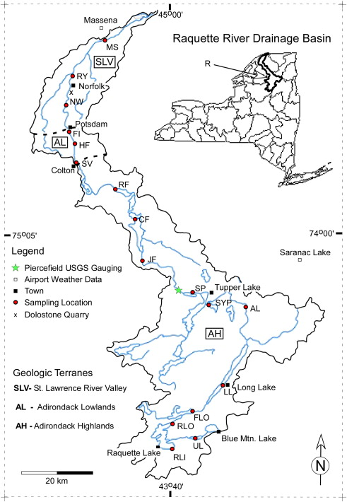 Endmember river water composition in the acidified Adirondack