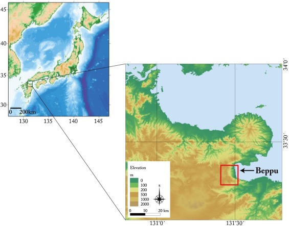 Interpretation Of Gravity Data To Delineate Underground Structure - Japan map beppu