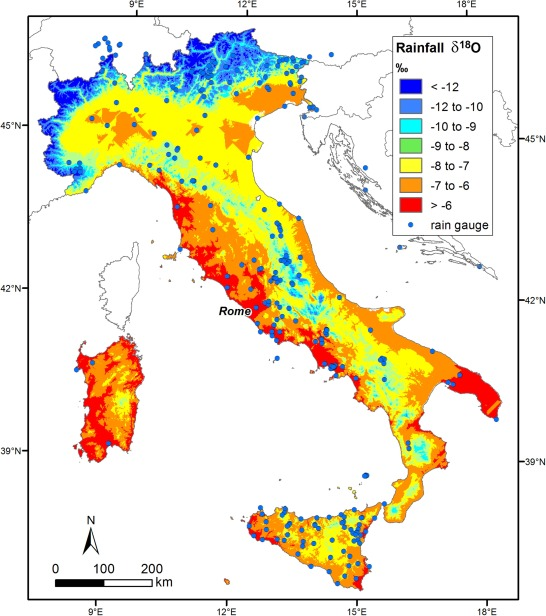 Mapping Oxygen Stable Isotopes Of Precipitation In Italy - World map with altitude and latitude