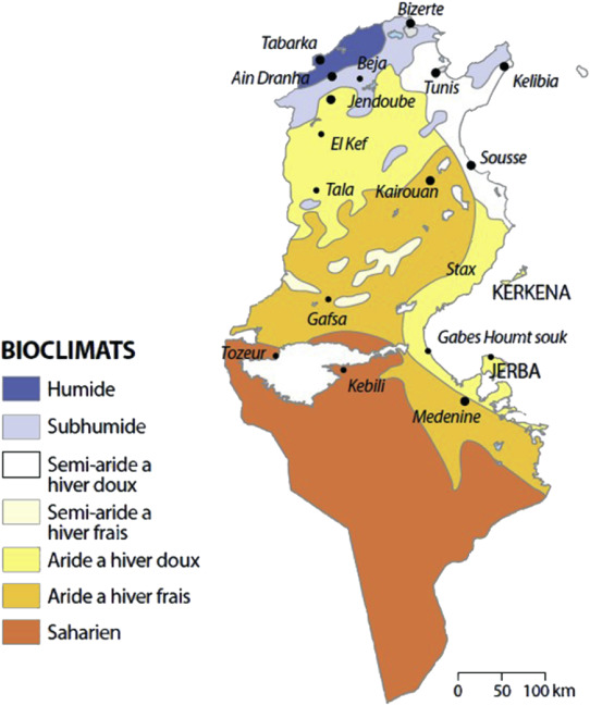 Plant Diversity In Different Bioclimatic Zones In Tunisia - Map of tunisia africa