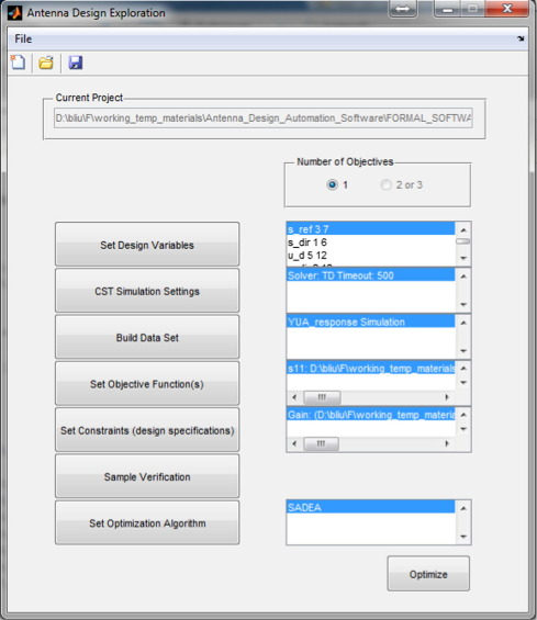 GUI design exploration software for microwave antennas