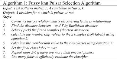 Pulsar selection using fuzzy knn classifier - ScienceDirect