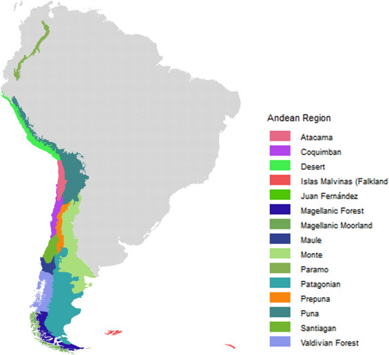 A high resolution shapefile of the Andean biogeographical
