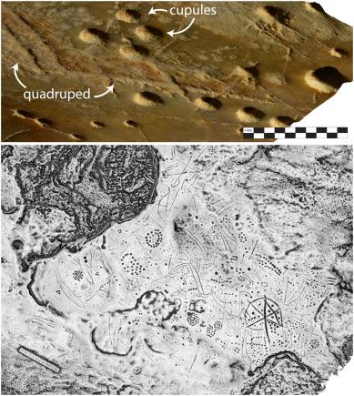 Imagen a partir de modelo 3D y mapa en escala de grises mostrando las profundidades de los grabados