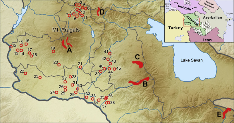 Map showing studied settlements (circles with numbers) and areas with temporary ...
