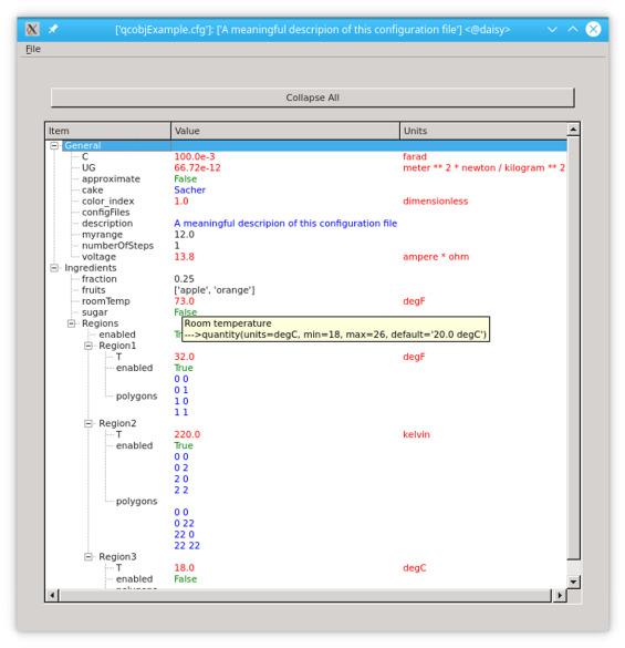 QCOBJ a Python package to handle quantity-aware configuration files