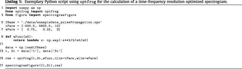 OptFROG — Analytic signal spectrograms with optimized time–frequency
