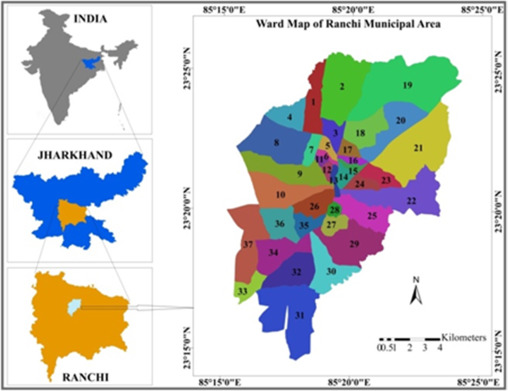Location Of Ranchi In India Map.Assessing The Impacts Of Urbanization On The Thermal Environment Of