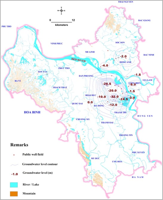 Prediction maps of land subsidence caused by groundwater