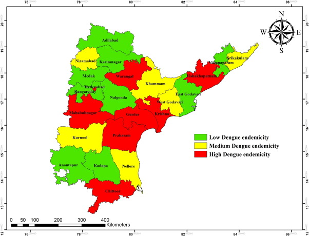 Spatial distribution and cluster ysis of dengue using ... on map of jharkhand district wise, map of pakistan district wise, map of delhi district wise, map of orissa district wise, map of west bengal district wise,