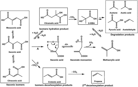 Synthesis of bio-based methacrylic acid from biomass-derived