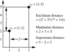 "Euclidean vs chebyshev vs manhattan distance | ""out of sight, out."