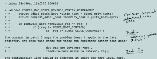 A Mixed Methods Approach to Mining Code Review Data: Examples and a