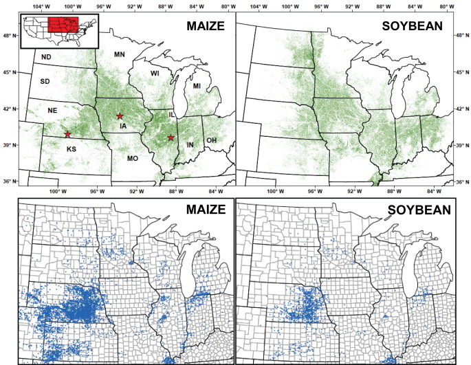 High Yield Maizesoybean Cropping Systems In The Us Corn Belt - Us-corn-belt-map