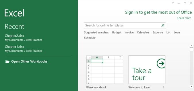 excel 2013 open blank workbook by default
