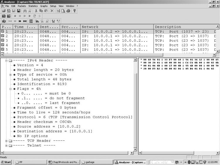 Transmission Control Protocol/Internet Protocol Packet Analysis