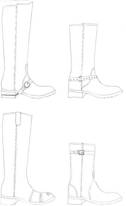 Footwear drawing templates and shoe