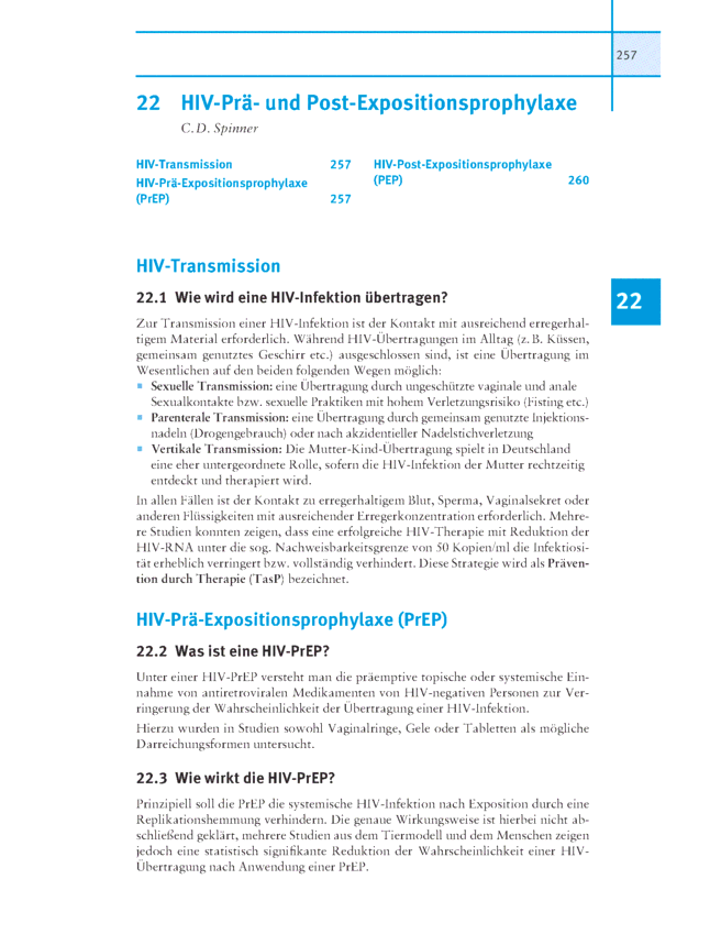 HIV-Prä- und Post-Expositionsprophylaxe - FAQ Infektiologie - 22