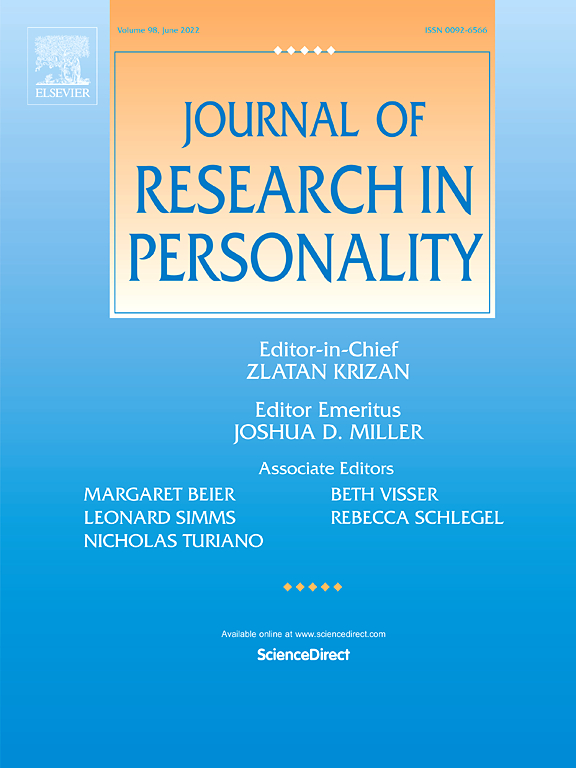Journal of Research in Personality | ScienceDirect com