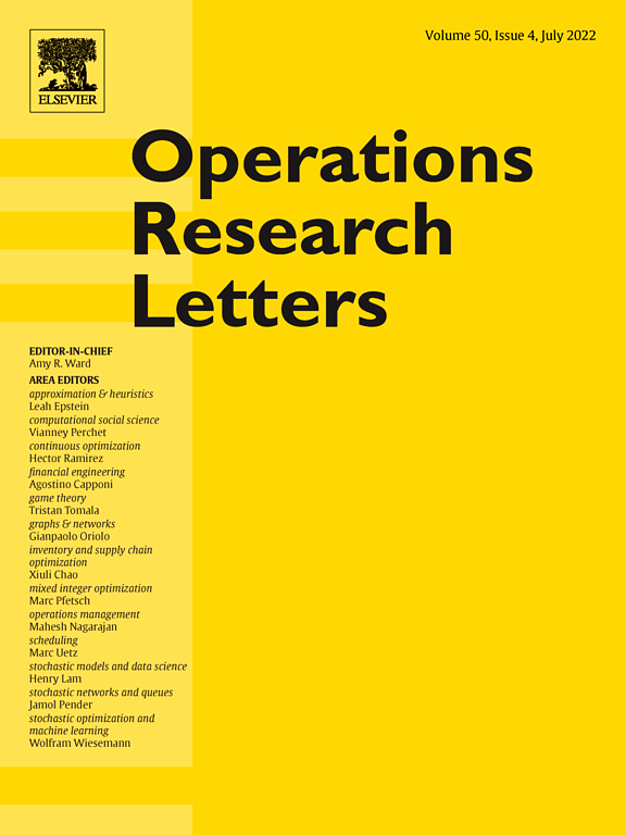 Operations Research Letters | Journal | ScienceDirect com