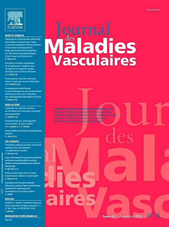 JOURNAL DE MALADIE VASCULAIRE