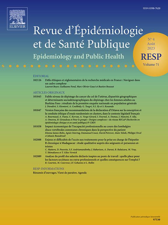 REVUE D'EPIDEMIOLOGIE ET DE SANTE PUBLIQUE