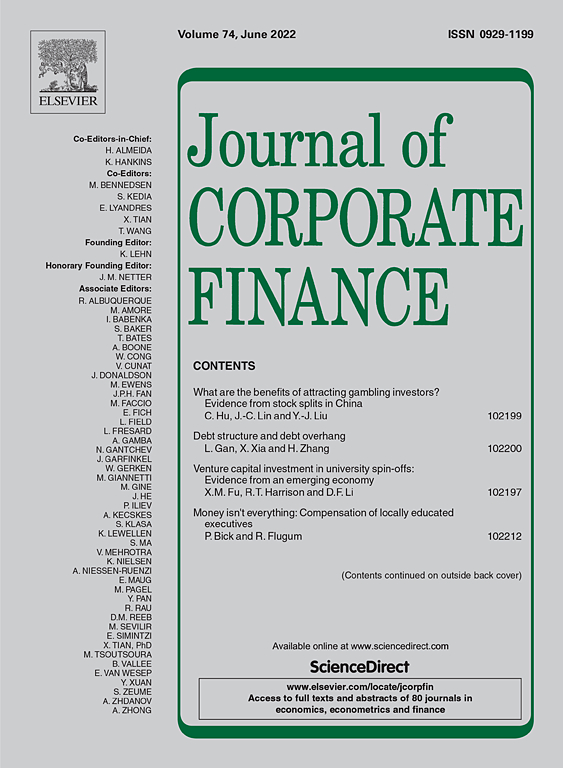 Cover image Journal of Corporate Finance