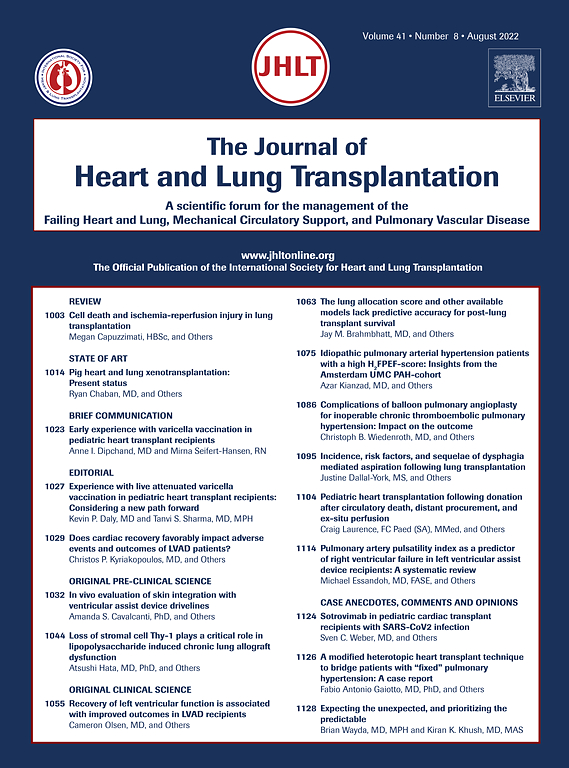 The Journal Of Heart And Lung Transplantation Sciencedirect