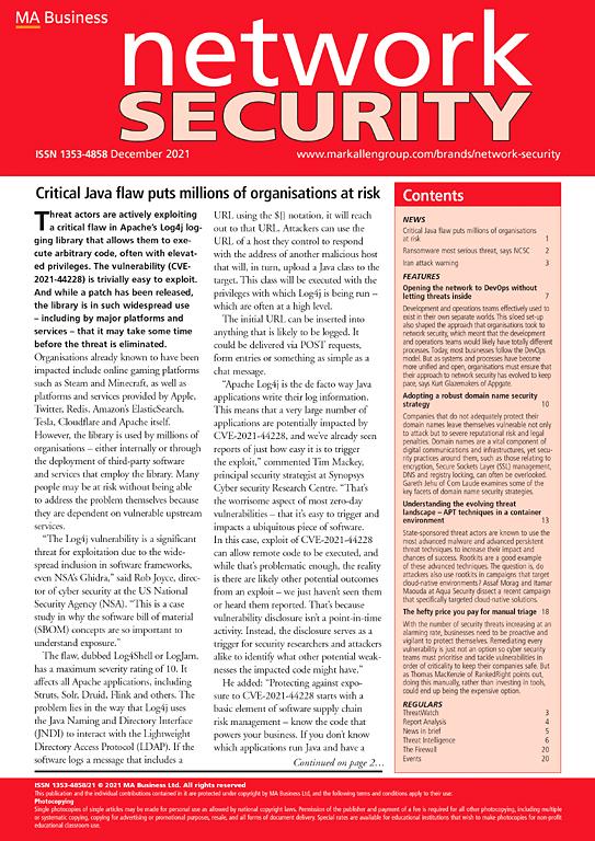 Network Security | Journal | ScienceDirect com