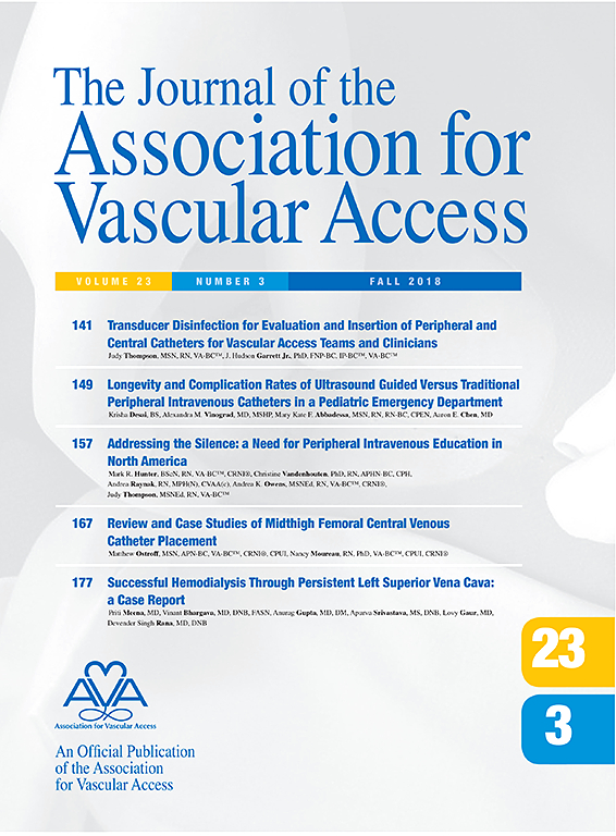 Journal Of The Association For Vascular Access Sciencedirect